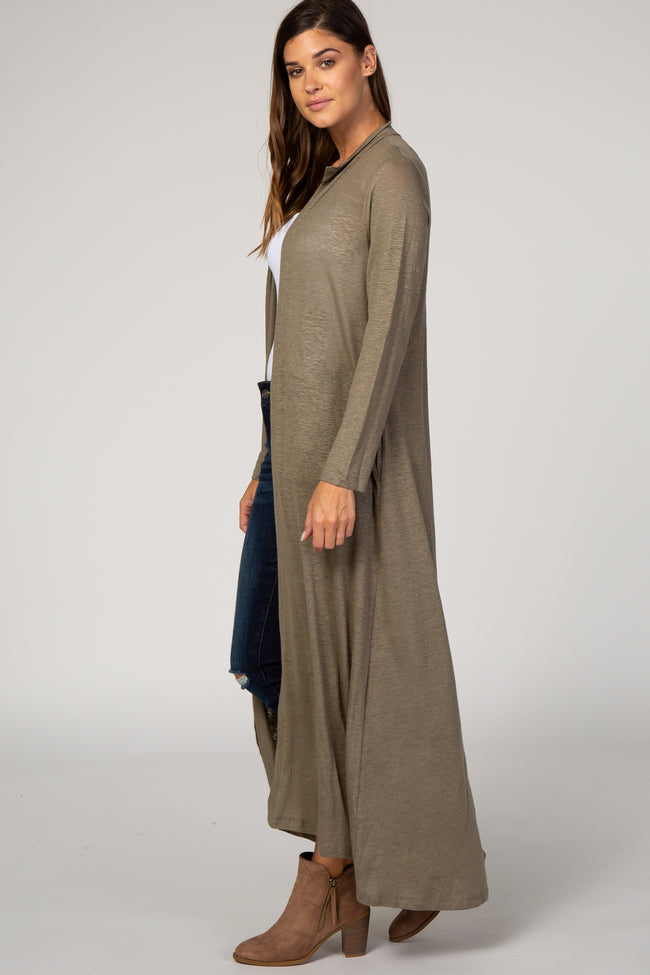 Olive Linen Duster Cardigan