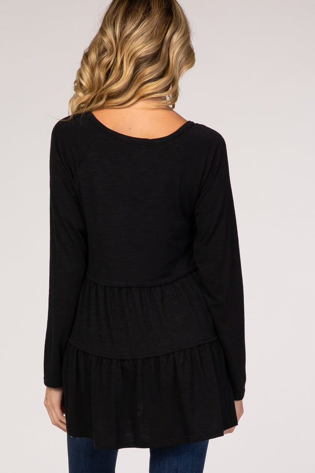 Black Tiered Ruffle V- Neck Long Sleeve Maternity Top