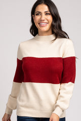 Red Colorblock Knit Maternity Sweater