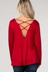 Red Long Sleeve Crisscross Back Maternity Top