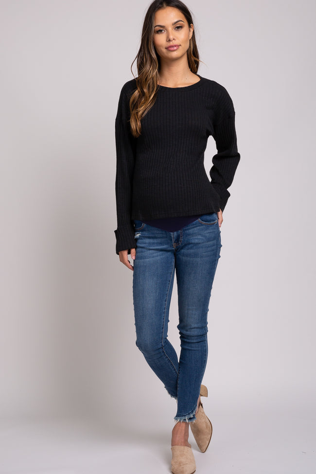 Black Ribbed Knit Long Sleeve Maternity Top