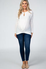 Ivory Soft Brushed Knit Keyhole Front Cutout Long Sleeve Maternity Top