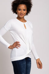 Ivory Soft Brushed Knit Keyhole Front Cutout Long Sleeve Top