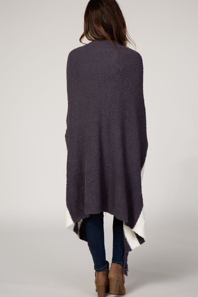 Charcoal Soft Knit Striped Poncho