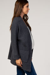 Charcoal Ribbed Dolman Sleeve Maternity Cardigan