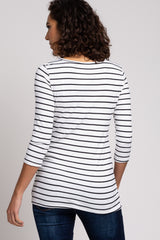 Ivory Striped 3/4 Sleeve Ruched Nursing Top