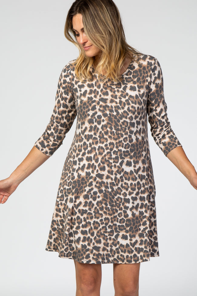 Brown 3/4 Sleeve Leopard Dress