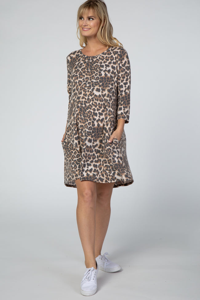 Brown 3/4 Sleeve Leopard Maternity Dress