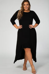 Black Long Sleeve Hi Low Ruffle Hem Plus Maternity Maxi Dress