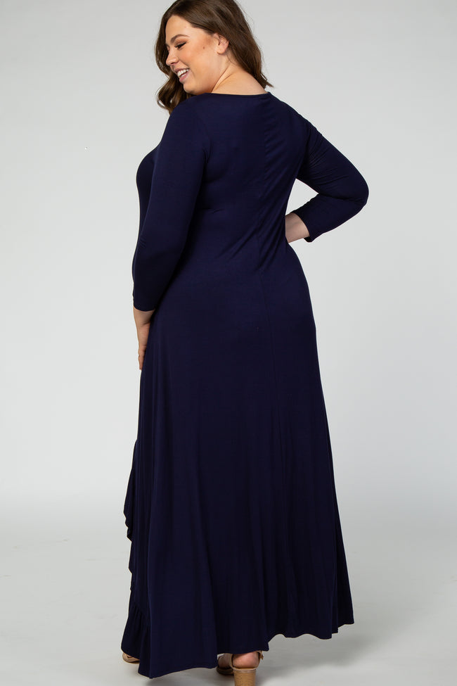 Navy Blue Long Sleeve Hi Low Ruffle Hem Plus Maternity Maxi Dress