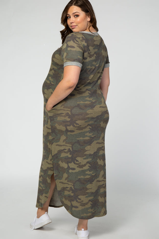 Olive Camo Maternity Plus Maxi Dress