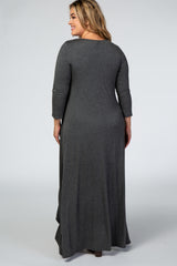 Charcoal Long Sleeve Hi Low Ruffle Hem Plus Maternity Maxi Dress