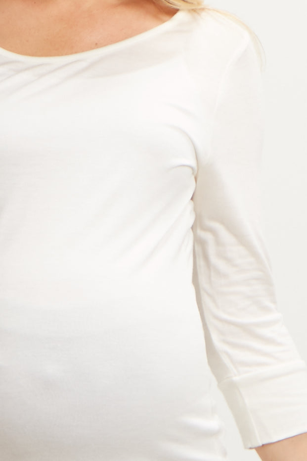 Ivory 3/4 Sleeve Maternity Shirt