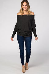 Charcoal Off Shoulder Long Dolman Sleeve Top