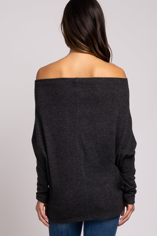Charcoal Off Shoulder Long Dolman Sleeve Maternity Top
