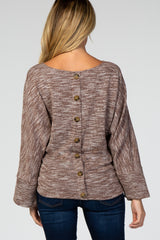 Brown Marled Knit Back Button Maternity Top