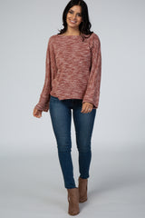 Rust Marled Knit Back Button Top