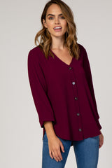 Burgundy Button Front 3/4 Sleeve Maternity Top