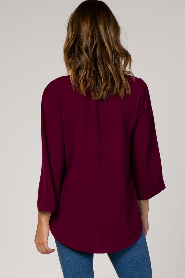 Burgundy Button Front 3/4 Sleeve Top