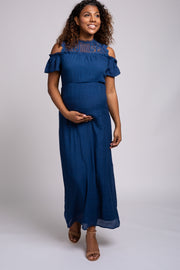 Navy Lace Cold Shoulder Maternity Maxi Dress
