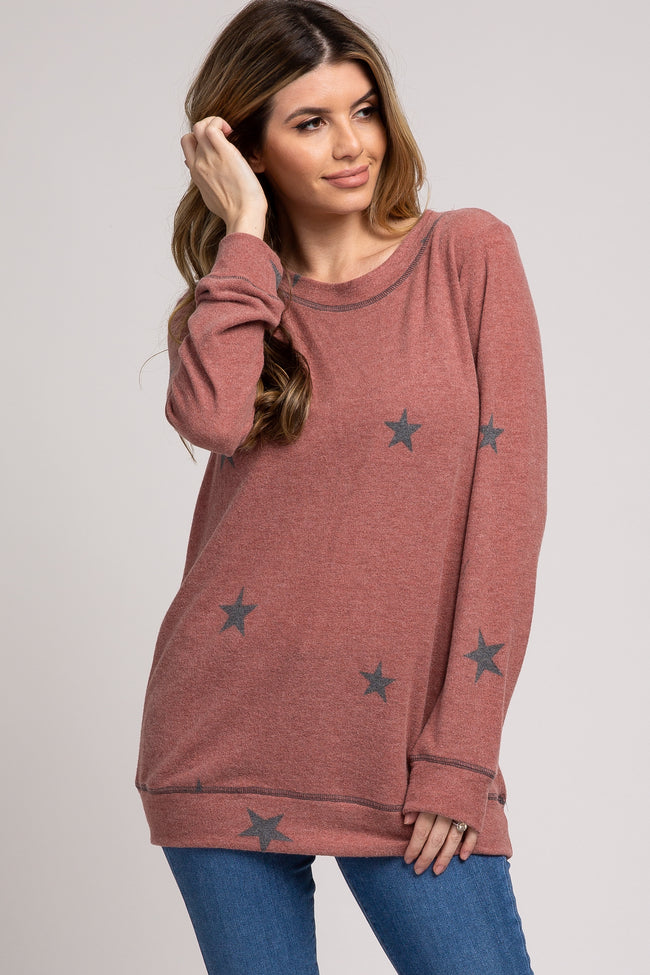 Rust Star Printed Soft Knit Top