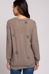 Mocha Star Printed Soft Knit Maternity Top