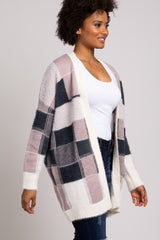 Mauve Soft Knit Colorblock Checkered Cardigan
