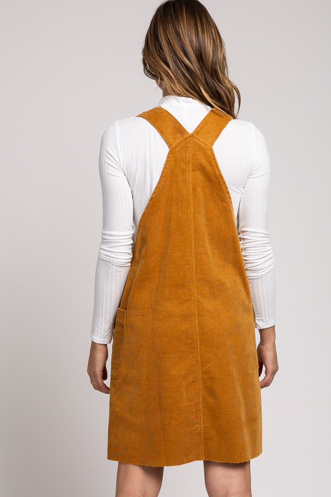 Camel Corduroy Button Down Overall Dress