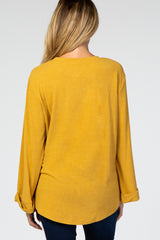 Mustard Twisted Hem Long Sleeve Maternity Top