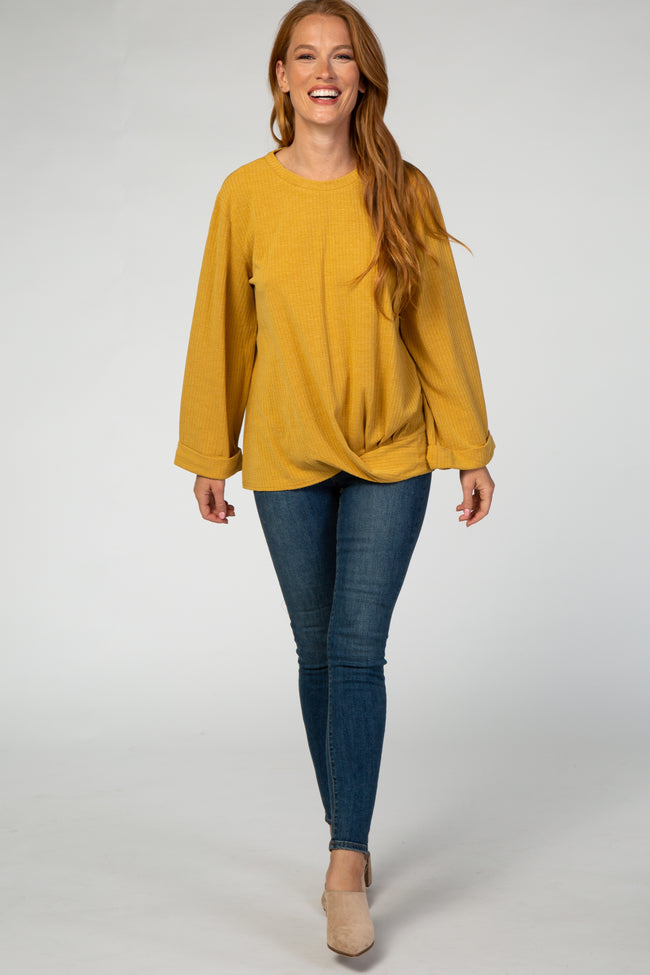 Mustard Twisted Hem Long Sleeve Top