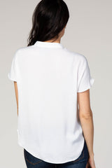 Ivory Short Sleeve V-Neck Blouse