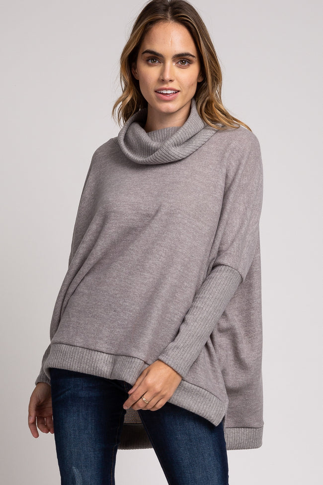 Grey Cowl Neck Brushed Knit Hi-Low Side Slit Top