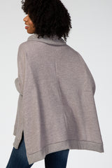 Grey Cowl Neck Brushed Knit Hi-Low Side Slit Maternity Top