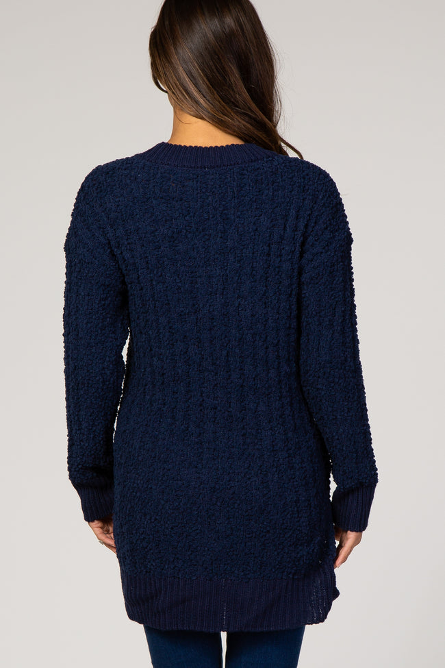 Navy Blue Ribbed Popcorn Knit Hi-Low Maternity Sweater