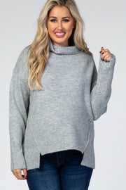 Heather Grey Turtleneck Hi-Low Side Slit Knit Maternity Sweater