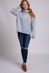 Heather Grey Turtleneck Hi-Low Side Slit Knit Sweater