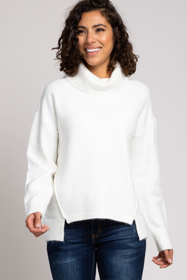 Ivory Turtleneck Hi-Low Side Slit Knit Sweater