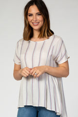 Beige Striped Hi-Low Short Sleeve Maternity Top