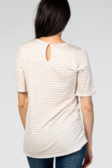 Taupe Striped Short Sleeve Top