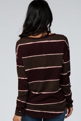 Burgundy Striped Colorblock Long Sleeve Top