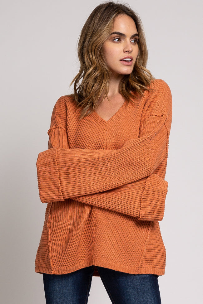 Rust Ribbed Knit Bell Sleeve Maternity Sweater