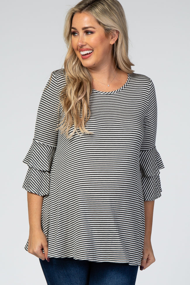 Ivory Striped Ruffle 3/4 Sleeve Maternity Top
