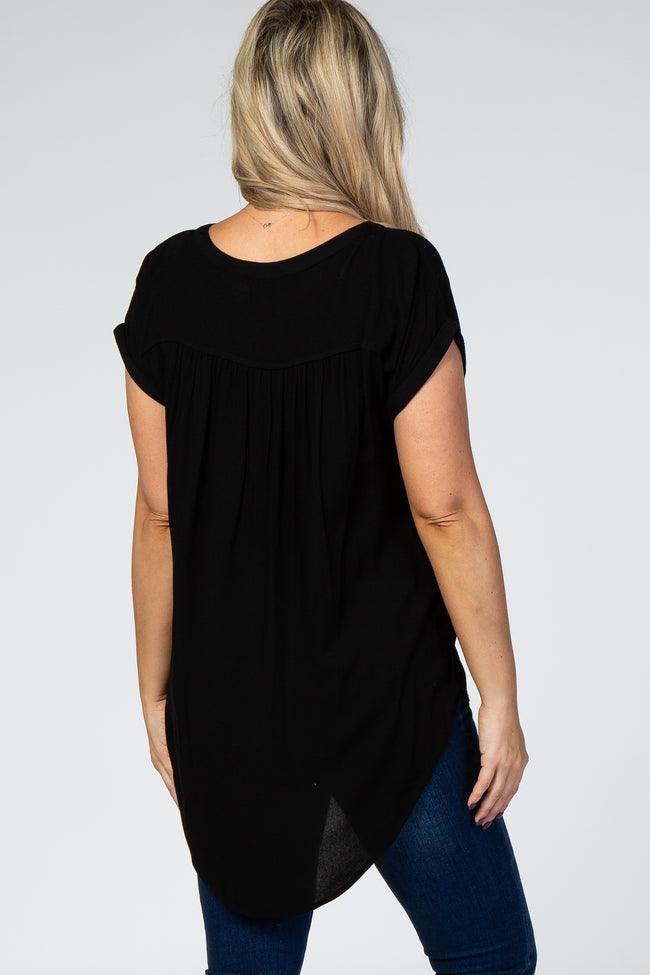 Black Stud Pocket Button Down Short Sleeve Maternity Top