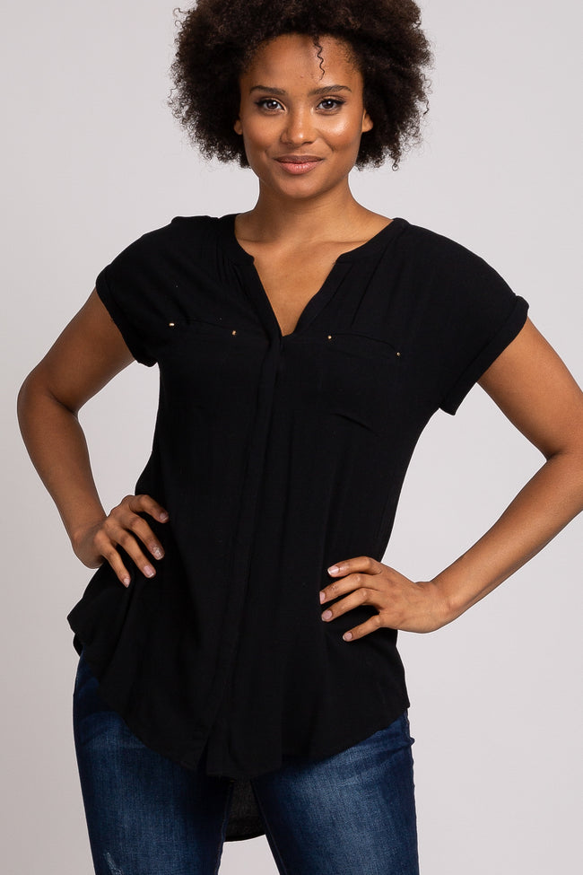 Black Stud Pocket Button Down Short Sleeve Top
