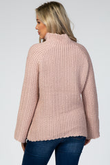 Mauve Flare Sleeve Mock Neck Maternity Sweater