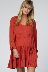Rust Ruffle Button Front Maternity Dress