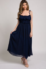 Navy Blue Chiffon Smocked Waist Adjustable Strap Maxi Dress