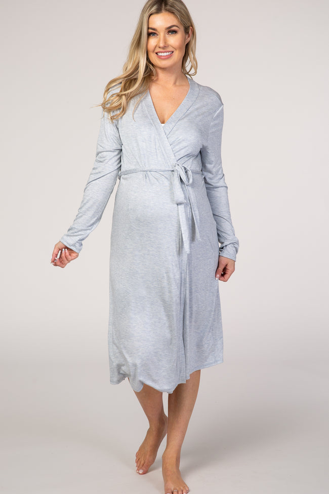 PinkBlush Light Blue Heathered Long Sleeve Delivery/Nursing Maternity Robe