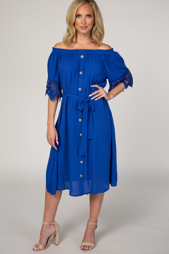 Royal Blue Off Shoulder Lace Tie Waist Maternity Dress
