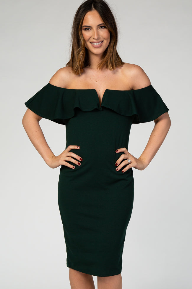 PinkBlush Forest Green Fitted Ruffle Trim Maternity Dress